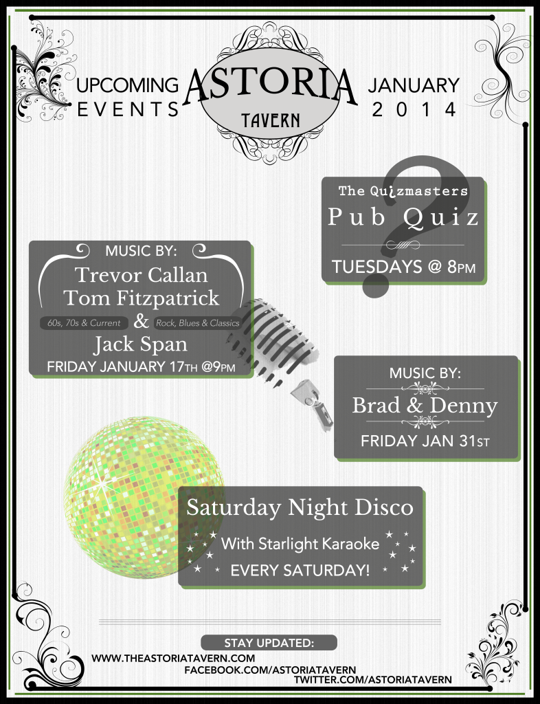 Astoria Tavern January Schedule PosterREV