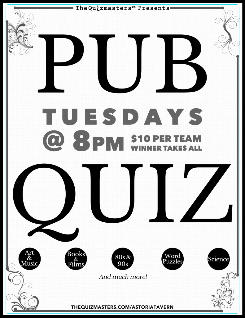 TAVERN QUIZ WINDOW POSTER8-5x11