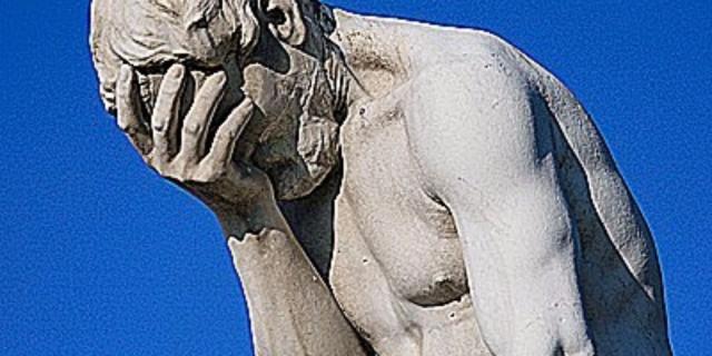 embarrassed statue